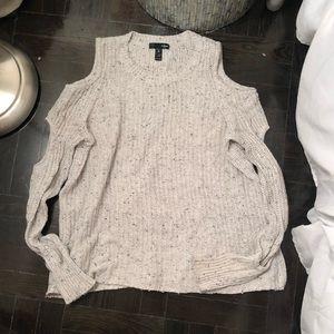 Aqua Size Small cold shoulder sweater grey